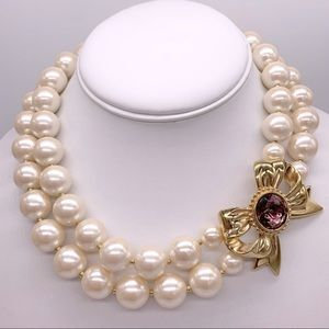 Givenchy Vintage Double Strand Pearl Necklace